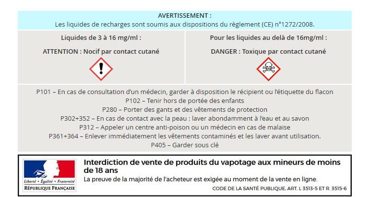 Réglementation soumis aux dispositions du règlement (CE) n°1272/2008